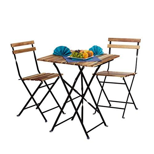 Relaxdays Gartenmöbel Set Natur Holz 3-teilig klappbar inkl Bistro Set Tisch H x B x T 76 x 60 x 60 cm naturfarben