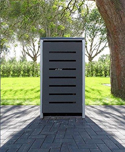 1 Mülltonnenbox Modell No6 Anthrazitgrau für 120 Liter Mülltonnen  witterungsbeständig durch Pulverbeschichtung  mit Klappdeckel und Fronttür