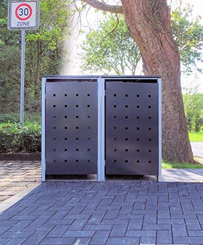 2 Mülltonnenboxen Modell No2 Anthrazitgrau für 120 Liter Mülltonnen  witterungsbeständig durch Pulverbeschichtung  mit Klappdeckel und Fronttür