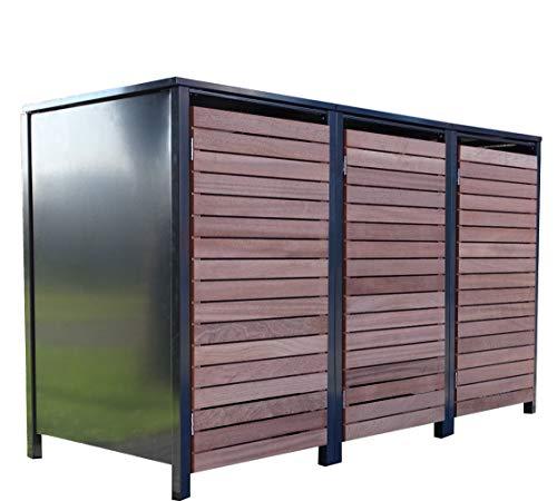 3X Premium 120 Liter Tailor MülltonnenboxenFarbe AnthrazitTür-EdelholzlVerschönern Sie Ihre unansehnliche Mülltonnen in Ihrem Hof und Garten