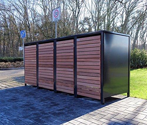 4 Mülltonnenboxen für 120 Liter Mülltonnen in Edeldesign Anthrazit - Edelholz  witterungsbeständig durch Pulverbeschichtung  mit Klappdeckel und Fronttür aus Edelholz