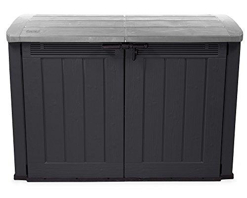 Ondis24 XXL Mülltonnenbox für 3 x 120 Liter Mülltonnen Fahrradgarage Gartenmöbelbox Gerätebox Gartenbox Gartenschuppen XXL AnthrazitGrau