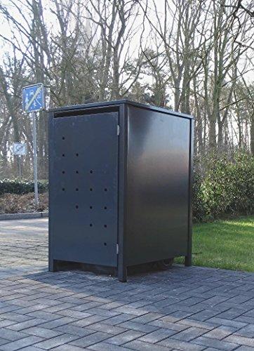 Srm-Design 1 Mülltonnenbox Modell No4 für 120 Liter MülltonnenKomplett Anthrazit RAL 7016witterungsbeständig durch Pulverbeschichtungmit Klappdeckel und Fronttür