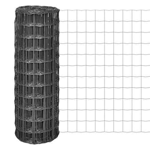 Festnight Gartenzaun Maschendraht Gitterzaun Schweißgitter 10×08 m mit 100×100 mm Maschenweite Stahl Grau