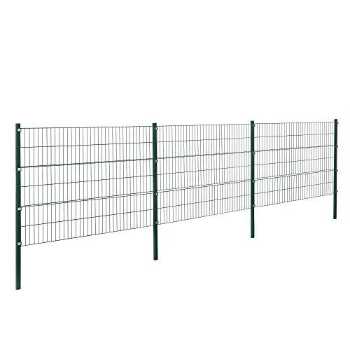 protec Doppelstabmattenzaun - 6 x 12 m - Eisen Gartenzaun Metallzaun Set grün