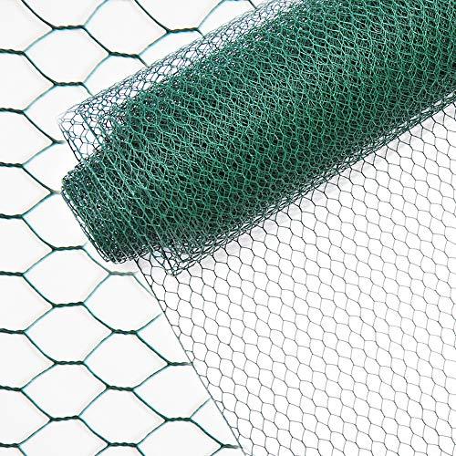 INDUTEC Sechseckgeflecht Drahtzaun Drahtgeflecht Gartenzaun Hasendraht - grün - MW 25 mm  H 75 cm  L 10 m Rolle