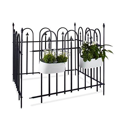 Relaxdays Gartenzaun Metall GOTH Komplettset 48 m Metallzaun aus Eisen 4 Zaunelemente 90 x 120 cm anthrazit schwarz