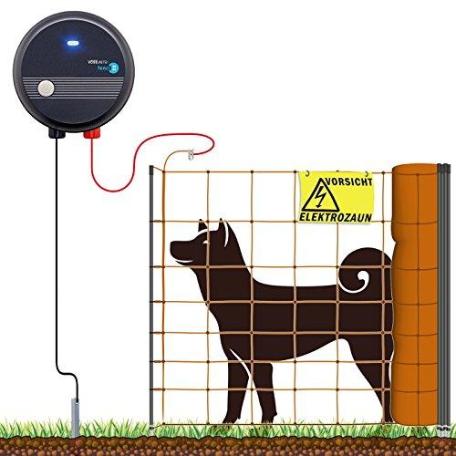 VOSSfarming 100m Komplettset Orange Hundezaun Weidezaungerät Elektronetz mittelgroße Hunde