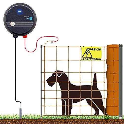 VOSSfarming 50m Hundezaun Komplettset Weidezaungerät  Elektronetz Orange Hundezaun für Kleine Hunde