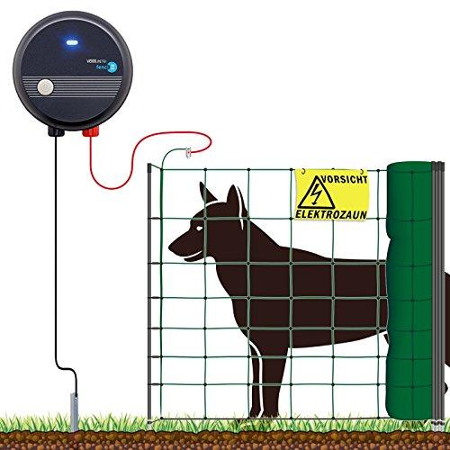 VOSSfarming Hundezaun 50m Elektro-Zaun für große Hunde  230V Weidezaungerät fenci M05 Weidezaun Komplettset Hunde-Netz Auslauf Gehege Elektro-Netz Grün