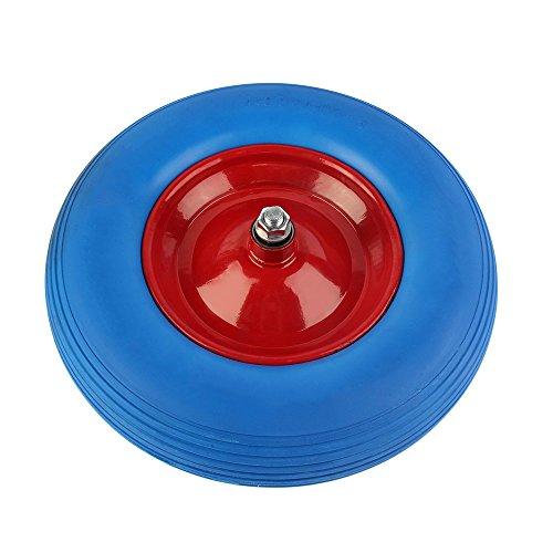 OUTAD 16 zoll PU Pannensicheres Schubkarrenrad 480400-8 Reifen für Schubkarre Vollgummi Reifen mit Präzisions-Kugellager Blau