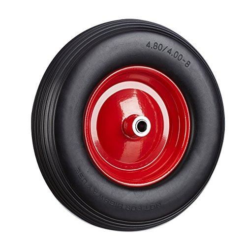 Relaxdays Vollgummireifen u Stahlfelge Ersatzrad pannensicher 100kg Traglast schwarz-rot Schubkarrenrad 480 400-8