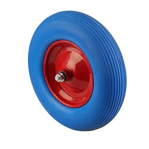 Schubkarrenrad Reifen Vollgummi PU 480400-8 ø  390 mm für Schubkarre Vollgummi- Reifen Ersatzrad Pannensicher BLAU
