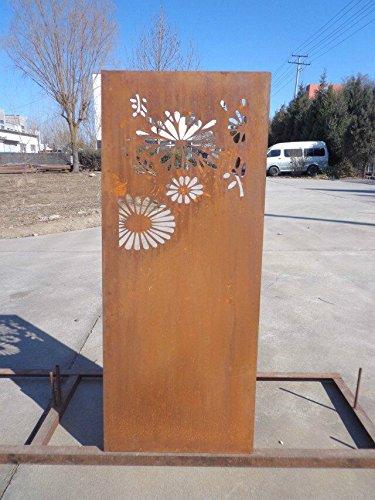 Garten Sichtschutz aus Metall Rost Gartenzaun Gartendeko edelrost Sichtschutzwand 031648-2 125502CM