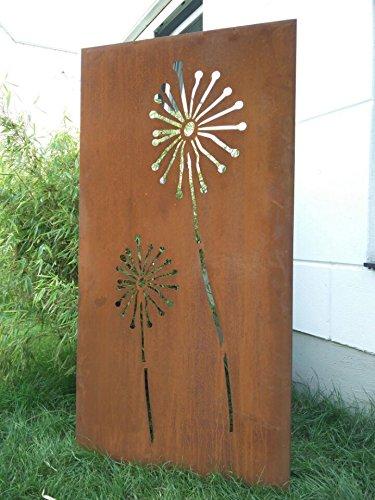Garten Sichtschutz aus Metall Rost Gartenzaun Gartendeko edelrost Sichtschutzwand 031654-1 150752cm