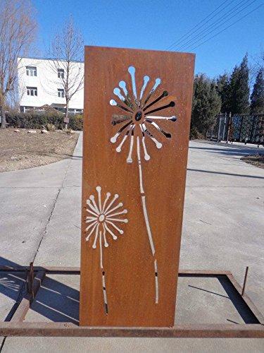 Garten Sichtschutz aus Metall Rost Gartenzaun Gartendeko edelrost Sichtschutzwand 031654 150502CM