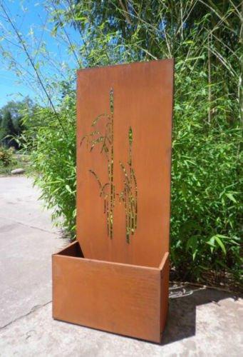 Garten Sichtschutz aus Metall Rost Gartenzaun mit Pflanzschale Gartendeko edelrost Sichtschutzwand PF0022 1205025CM