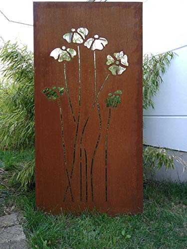 Zen Man Edelrost Garten Sichtschutz aus Metall Rost Gartenzaun Gartendeko edelrost Sichtschutzwand 150  75 cm 101578