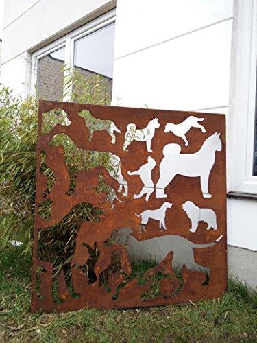 Zen Man Garten Sichtschutz aus Metall Rost Gartenzaun Gartendeko edelrost Sichtschutzwand H124124 cm 101548