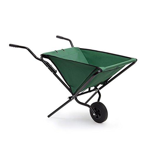 Relaxdays Schubkarre faltbar HBT 66 x 64 x 112 cm Faltschubkarre aus Stahl mit Korb aus stabilem Polyester ca 56 l Fassungsvermögen platzsparende Gartenkarre zum Aufhängen belastbar bis 30 kg grün
