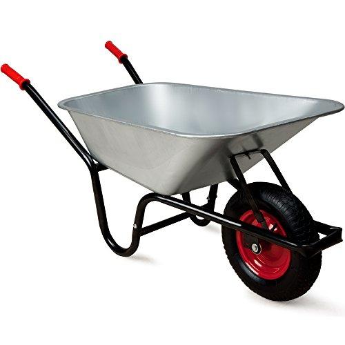Monzana Schubkarre 100 Liter  bis 250kg Belastbarkeit  Luftreifen mit Stahlfelge  verzinkt  stabile Ausführung mit Aufliegewanne  Bauschubkarre Gartenschubkarre