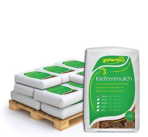 PALIGO Rindenmulch Mulch Garten Holz Dekor Rinde Borke Natur Pinus Sylvestris Wald Kiefer Deko 60-120mm 70l x 15 Sack 1050l  1 Palette Galamio