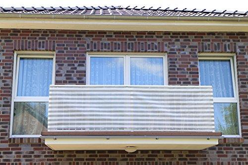 Grau&Weiß 3x09m Smart Deko Balkonsichtschutz Balkonverkleidung Windschutz Sichtschutz und UV-Schutz für Balkon Gartenanlagen Camping und Freizeit 78828