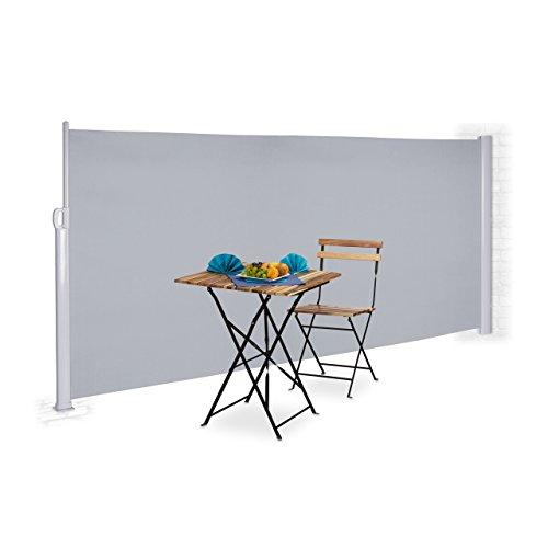 Relaxdays Seitenmarkise ausziehbar Vollkassette zum Stellen Balkon UV-beständiger Sichtschutz HxB 160x300 cm grau