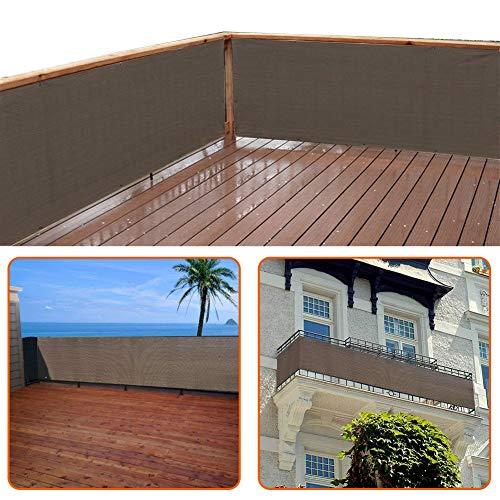 zimo Balkon Sichtschutz UV-Schutz blickdichte wetterbeständige Balkonbespannung Balkonverkleidung mit Kabelbindern HDPE-Spezialgewebe 5 Meter 90x500cm Grau