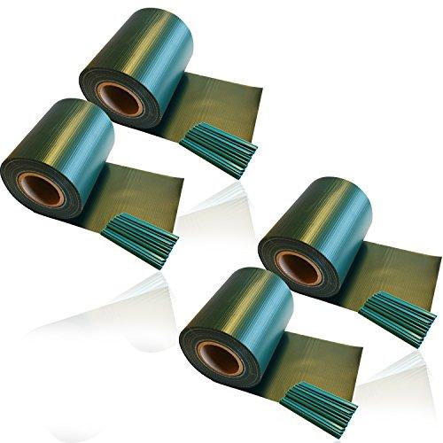 4 x HSM Zaun Sichtschutz Blende Zaunfolie Sichtschutzstreifen 19cm x 35m aus hochwertigem PVC als Windschutz inkl 20 Befestigungsclips GRÜN