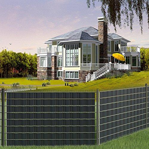 GOTOTOP 70m PVC Zaun Folie Zaun Sichtschutz Sichtschutzstreifen für Stabmattenzaun mit 20 Stück Kunststoffklammern 19 cm x 70 m