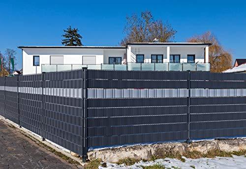 Premium Zaunsichtschutz HART-PVC  9 x Streifen 2525 mHöhe 19 cm Anthrazitgrau - Zaun Sichtschutzstreifen Fachhandelsware für Doppelstabmattenzaun Zaun Sichtschutz anthrazit - keine Folie