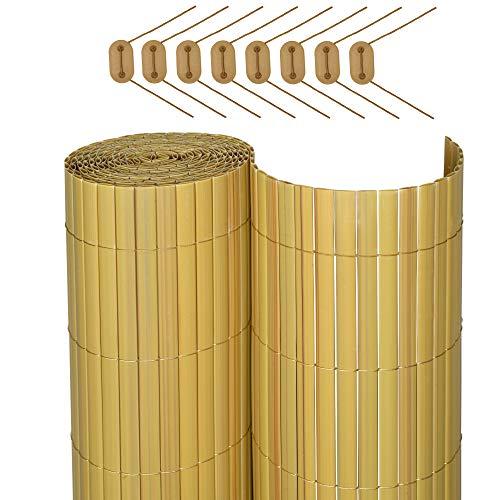 Sol Royal SolVision P78 - PVC Sichtschutz Zaun 140 x 400 cm Natur Stabiler Balkon Garten blickschutzz Windschutz