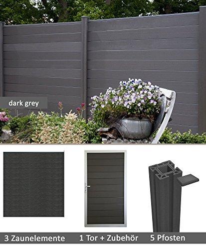 terrasso WPCBPC Sichtschutzzaun Dark Grey 3 Zäune 1 Torelement inkl 5 Pfosten Sichtschutz Gartenzaun