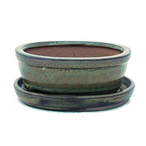 Bonsaischale mit Unterteller Gr 1 - Oliv-Braun - oval - Modell O7 - L 12cm - B 95cm - H 45 cm