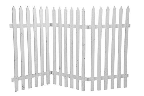Deko-Zaun Holz-Zaun Jäger-Zaun 3 Zaunelemente a 50 cm zum klappen 90 cm hoch shabby weiß Vintage