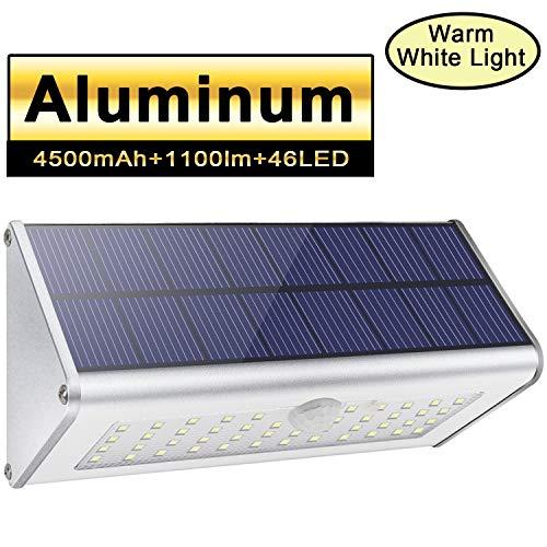 Solar-Außensicherheits-Wandleuchten Licwshi 1100lm 46 LED 4500mAh silberne Aluminiumlegierung-Infrarotbewegungs-Sensor-drahtlose wasserdichte Nachtlichter für Garten Patio Zaun warmes weißes Licht