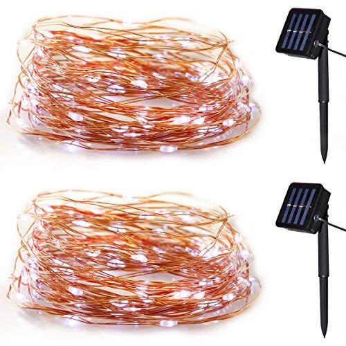 Yasolote Solar Lichterkette Außen LED Außenlichterkette Kupferdraht 10m 100 LED 8 Modi Beleuchtung für Garten Balkon Pavillon Terrasse Rasen Hof Zaun Hochzeit Fest Deko Weiß 2 Stück