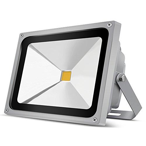 Auralum 50W LED Außenstrahler Fluter Flutlichtstrahler 3000K Warmweiß 4500 Lumen 230V IP65 Wasserdicht Grau
