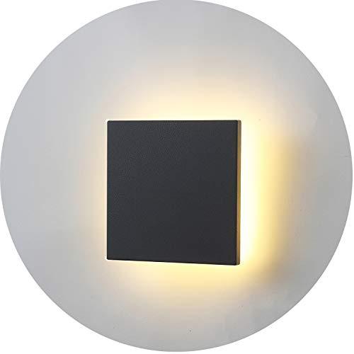 Topmo-plus 8W LED Wandstrahler Modern Spotlicht Außenwandleuchten AluminiumPC Leuchtmittel festverbaut IP65 Wasserdicht TerasseGarden KorridorFlurleuchte 3000K warmweiß 880LM 15 CM Quadrat grau