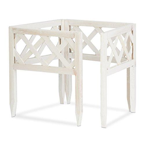 Relaxdays Steckzaun Holz 4er-Set Gartendeko niedrige Beeteinfassung Zierzaun Erdspieße erweiterbar 30x30cm weiß