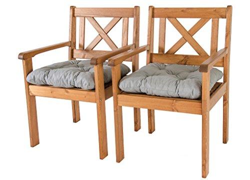 Ambientehome Garten Sessel Stuhl Massivholz inkl Kissen EVJE braun 2-teiliges Set