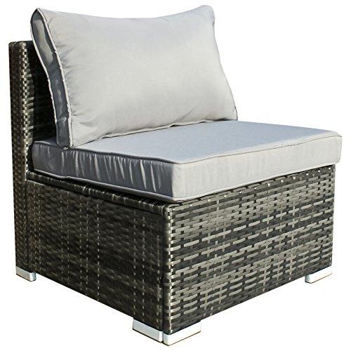 Hansson Polyrattan Gartenmöbel Lounge Set Sitzgruppe Garnitur Poly Rattan inkl Sofa Sessel Kissen Hocker Tisch mit Glas 1 x Mittelsofa