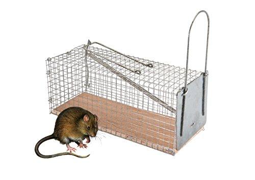 TK Gruppe Timo Klingler XXL Lebendfalle Rattenfalle Maderfalle Falle Kastenfalle lebend Käfigfalle Tierfalle Mausefalle für Maus Ratte Mader UVM Drahtkastenfalle mit Ködervorbau und Falltür