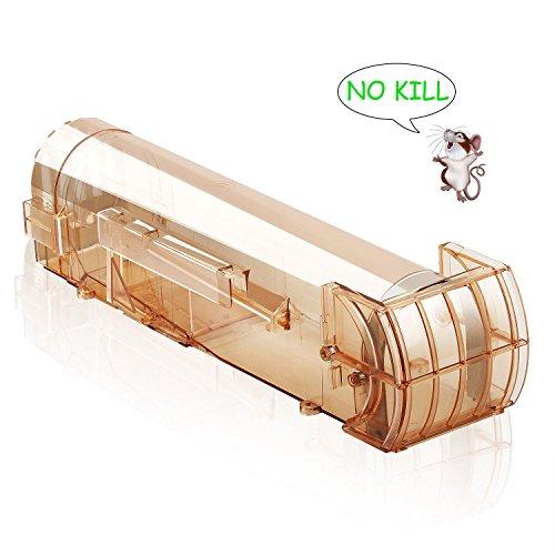 Tyhbelle Maus Lebendfallen Freundliche Mausefalle Menschlich Mäusefalle 32 cm Rattenfalle und Tierfreundliche Mäuse Kastenfalle Einfach Einzurichten für Innen Außen Küche Garten Haus Braun