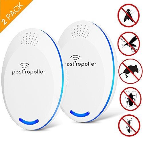 2 Pack Ultraschall SchädlingsbekämpferMaus Ultraschall-Elektronischer Ultraschall Insekten - Beseitigen MäuseBettwanzenSpinnenMoskitosKakerlakenAmeisen-100 sicher für Menschen und Haustiere