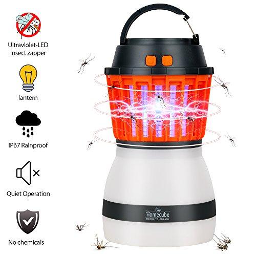 Home-Cube Insektenvernichter UV-insektenvernichter LED Campinglampe 2-in-1 mit IP67 Wasserdicht und 2200mAh Rechargeble USB Kleine und Tragbare Moskito Killer Laterne for Outdoor Indoor