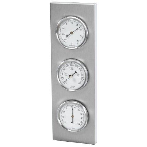 Hama Außenwetterstation Verona mit Thermometer Hygrometer Barometer rostfrei analog