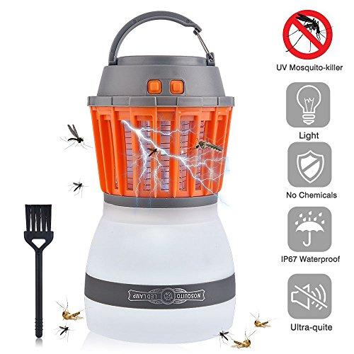 AUSHEN UV Insektenvernichter USB elektrisch Mückenfalle 2 in 1 Moskito Lampe mit Wasserfeste und Transportable LED Campinglampe IP67 Regendichte Zelt Licht für Innen und Außen