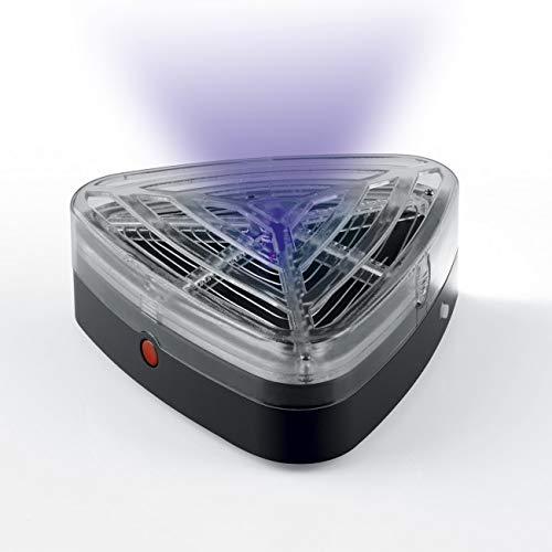 EASYmaxx elektrische Solar Mueckenfalle dreieckig 12V Insektenfalle Grau Abwehr mit Nachtlicht